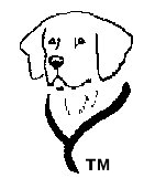 IAADP's Copyrighted & Trademarked Design.  Do not use without express written authorization.  This is a black and white line drawing of golden retriever's head and neck showing a portion of its harness.